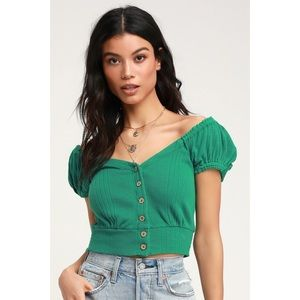 "Free People ""Brighter Days"" Green Button Front Top"